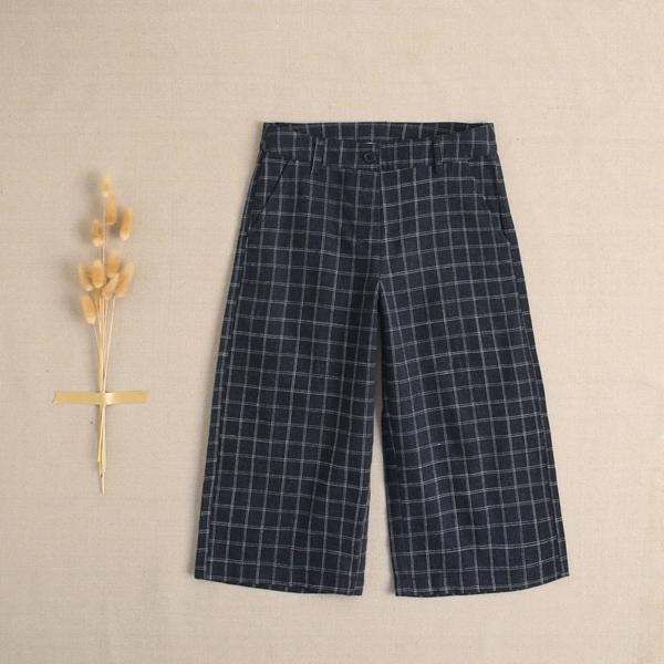 Imagen de Pantalon ancho de niña teen cuadros gris-beige