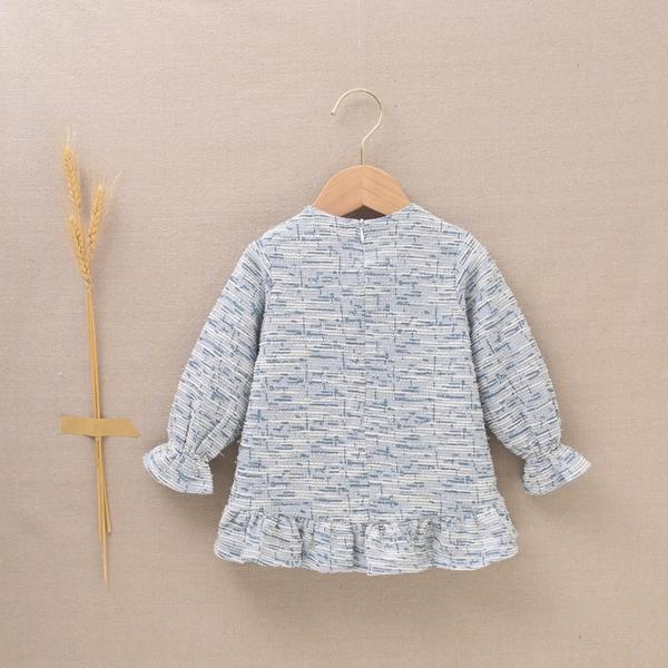 Imagen de Vestido de bebé niña tejido tweed azul