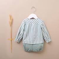 Imagen de Conjunto de bebé con camisa cuadros verdes y pololo de punto