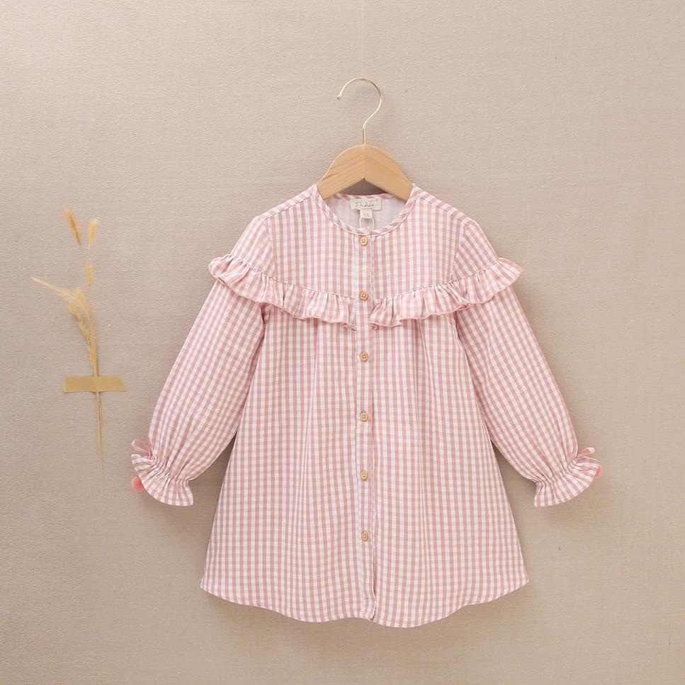 Imagen de Vestido fluido abotonado de niña vichy rosa-blanco