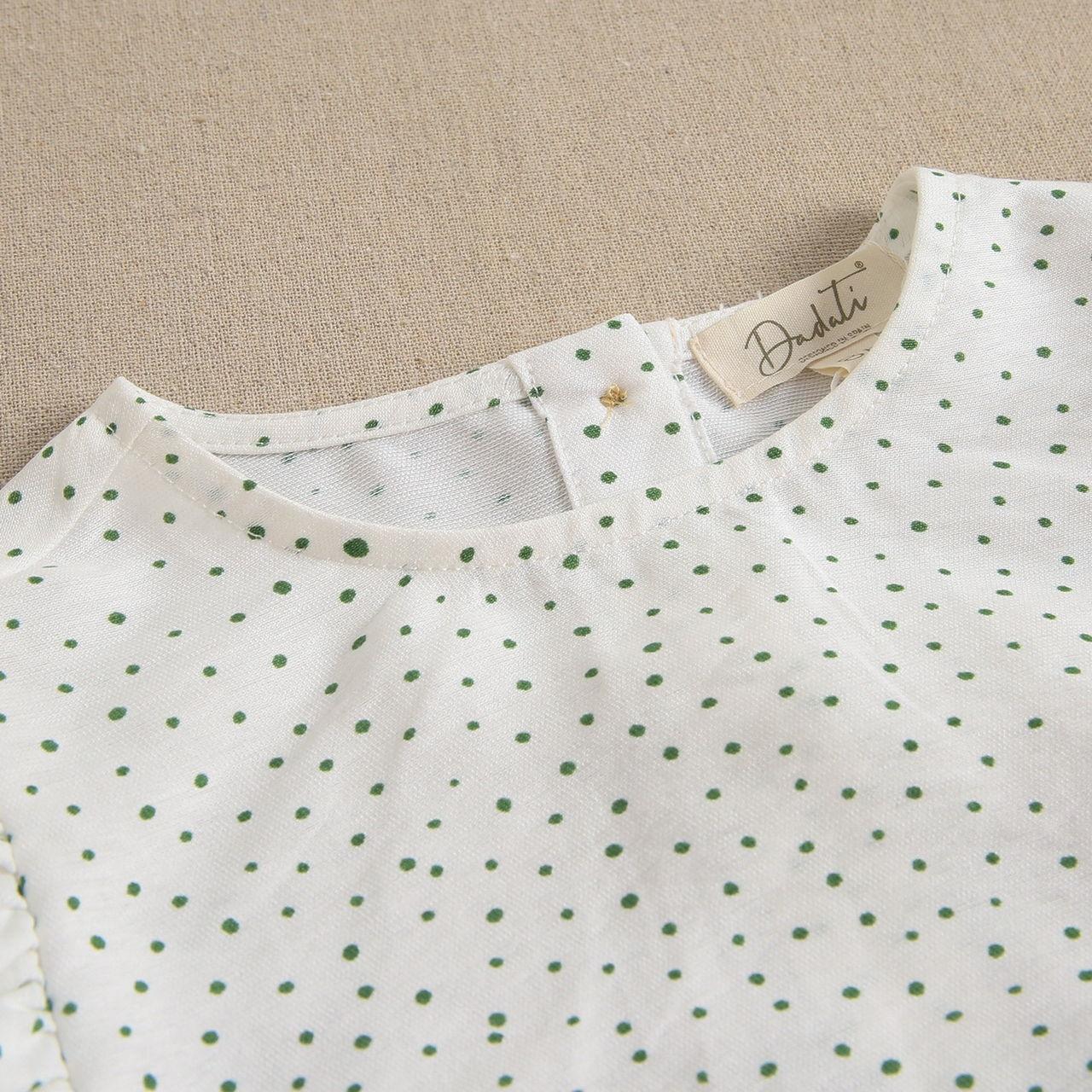 Imagen de Blusa teen crudo con topos verdes