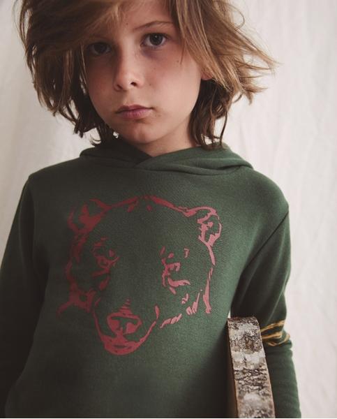 Imagen de Sudadera de niño con capucha estampado oso