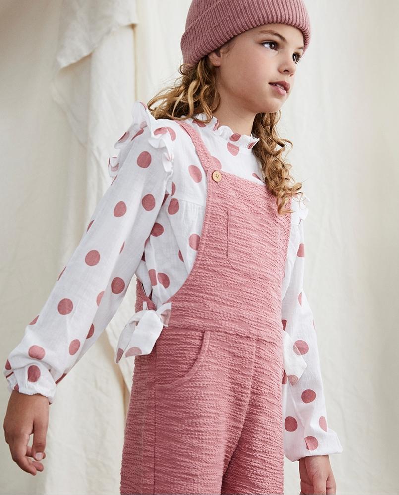 Imagen de Peto de niña rosa felpa textura combinado