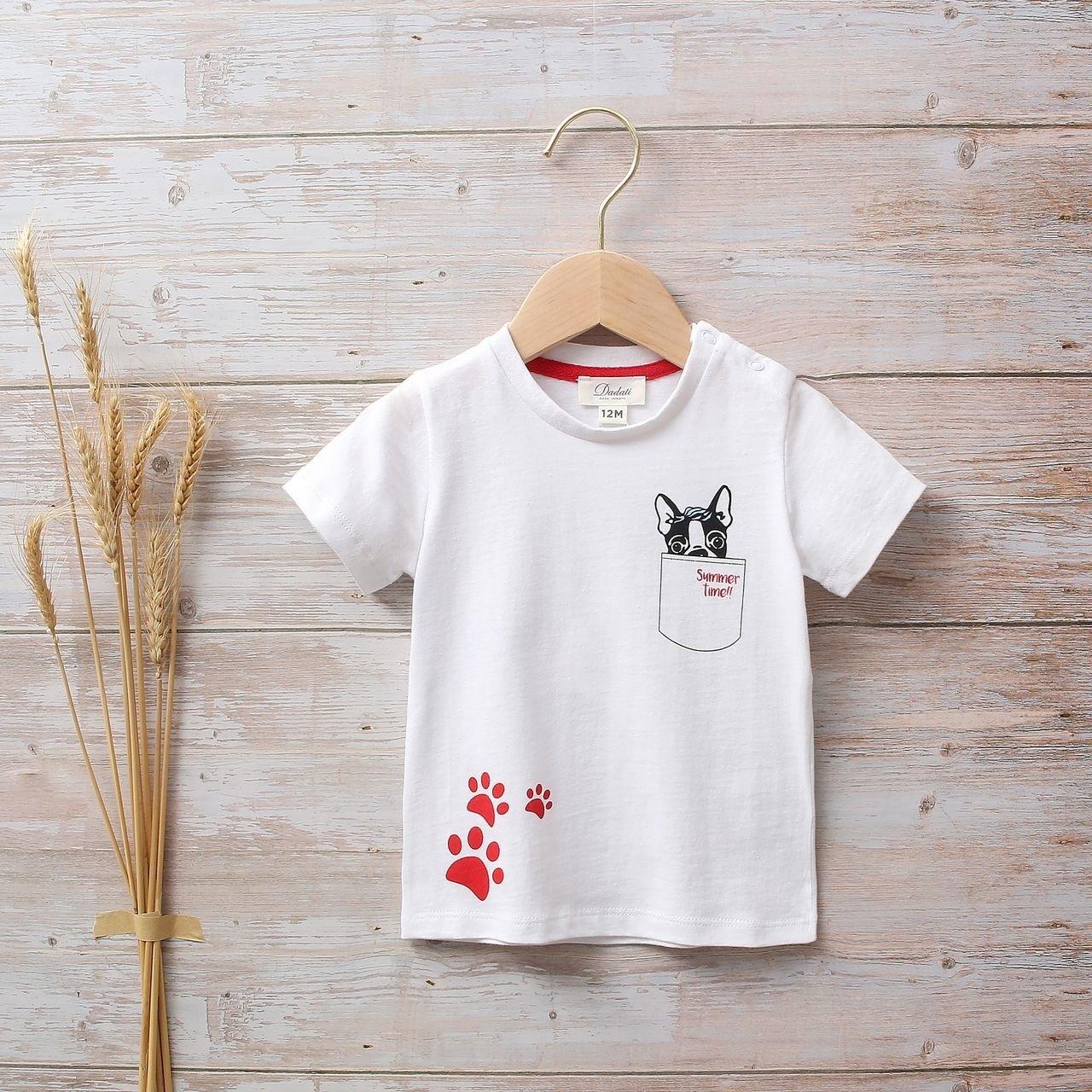 Imagen de Camiseta bebé blanca con estampado de perritos y huellas