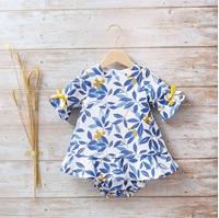 Imagen de Conjunto bebé niña hojas azules