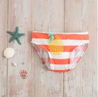 Imagen de Culetin baño bebé lycra rayas coral ananas estampado glitter piña