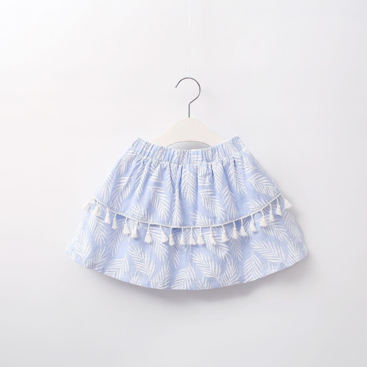 Imagen de Falda niña paradise azul con hojas blancas
