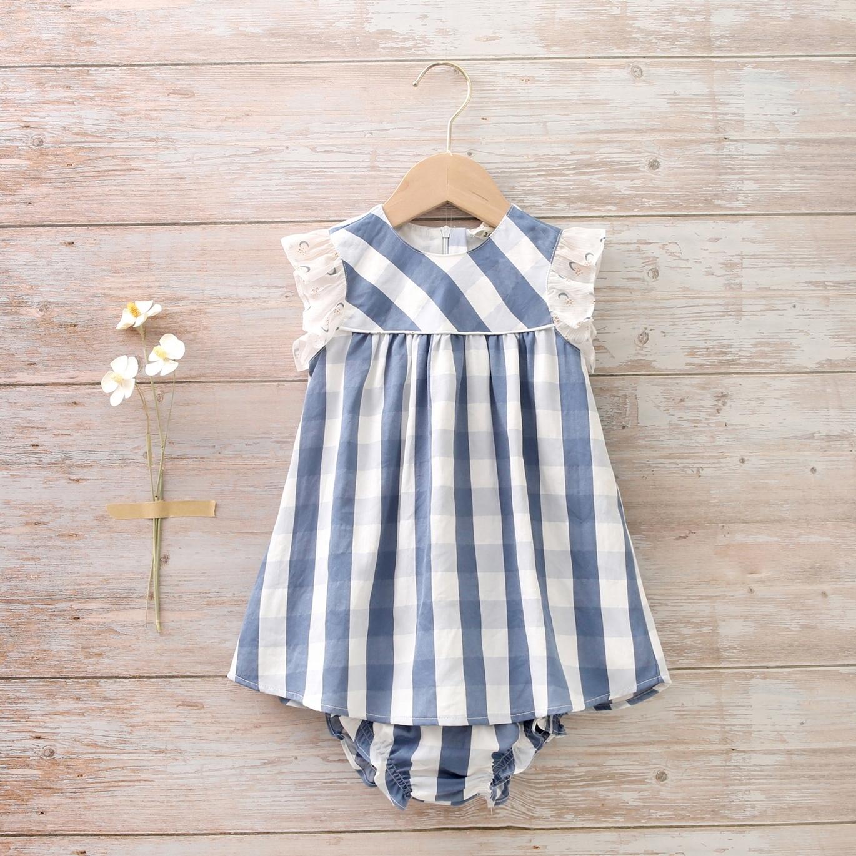 Imagen de Vestido con braguita bebé de cuadros azul oscuro y blanco