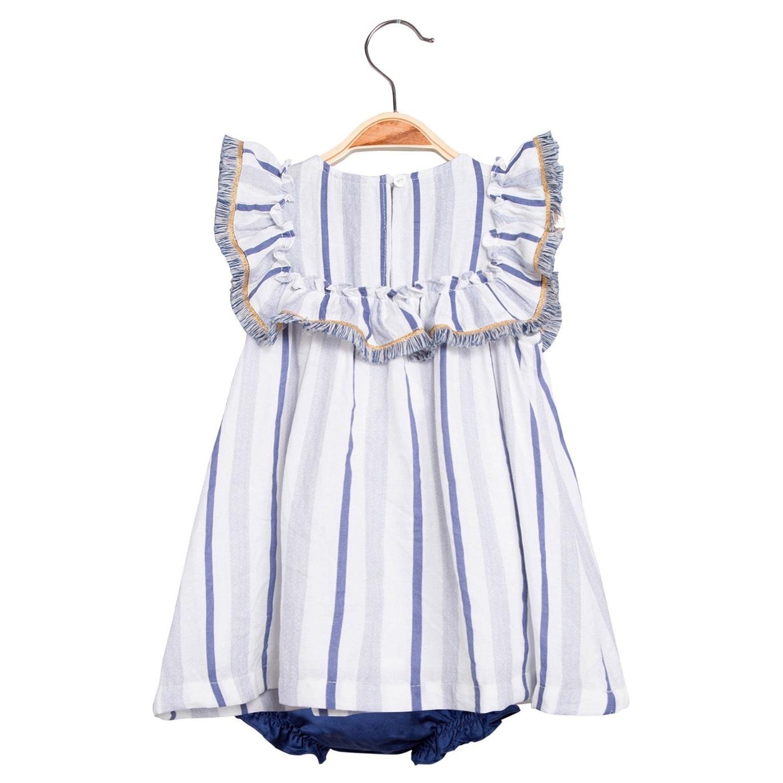 Imagen de Vestido de bebé niña de rayas azules con braguita