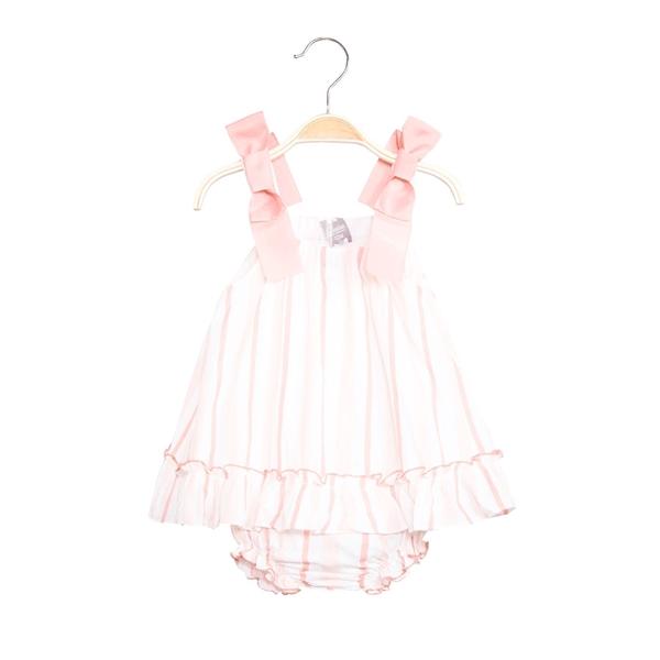Imagen de Vestido de bebé niña de rayas rosa con braguita