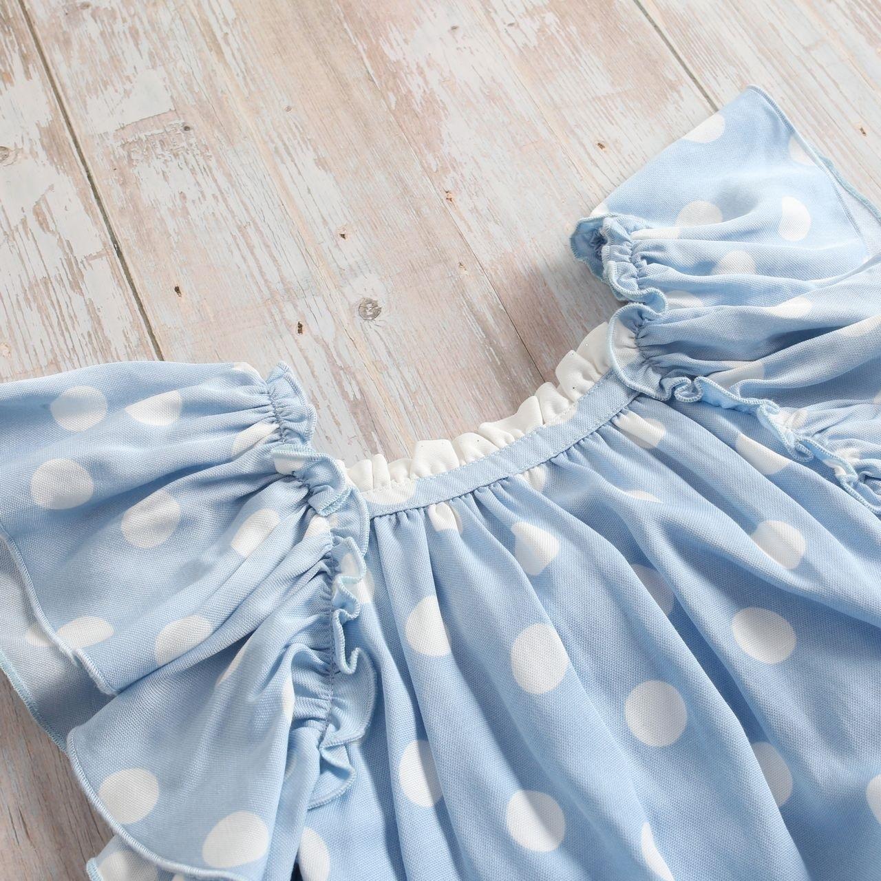 Imagen de Vestido niña Hortensia de lunares con manga murciélago