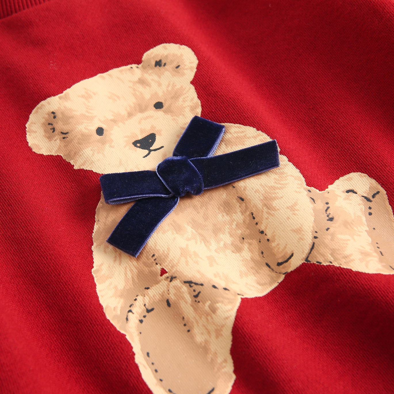 Imagen de Sudadera de niña felpa granate estampado oso