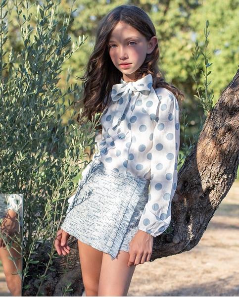 Imagen de Falda pantalón de niña teen tejido tweed azul con flecos