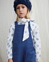Imagen de Blusa de niña de estampado de lunares azules con lazo