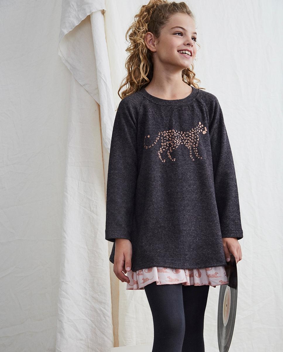 Imagen de Vestido de niña paño gris combinado con estampado leopardo