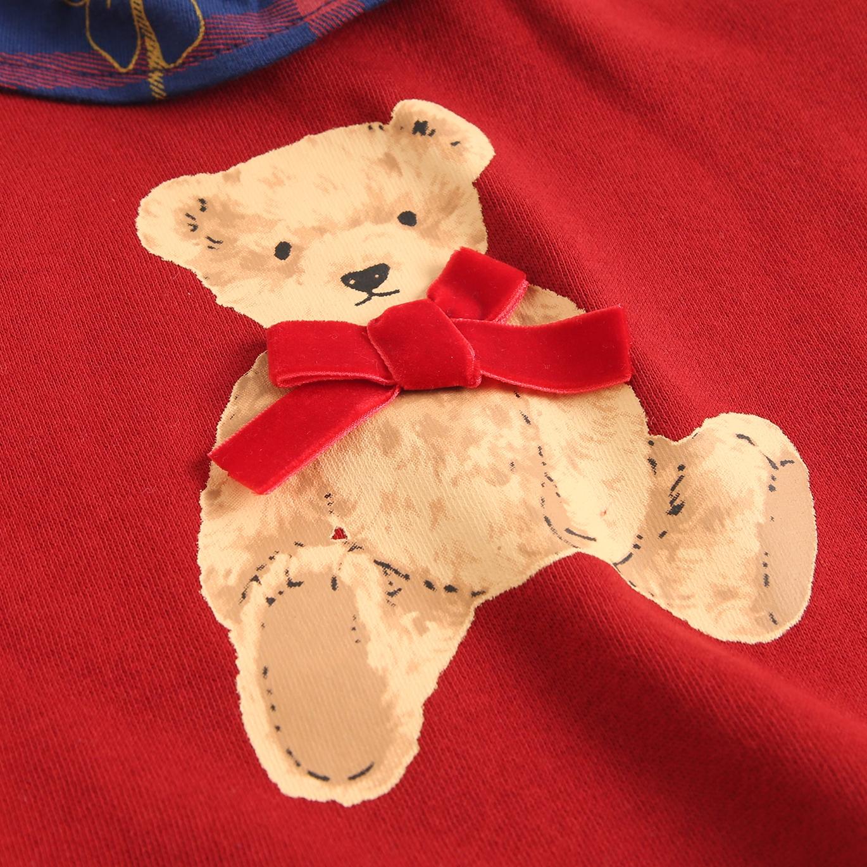 Imagen de Sudadera de bebé niña felpa granate estampado oso