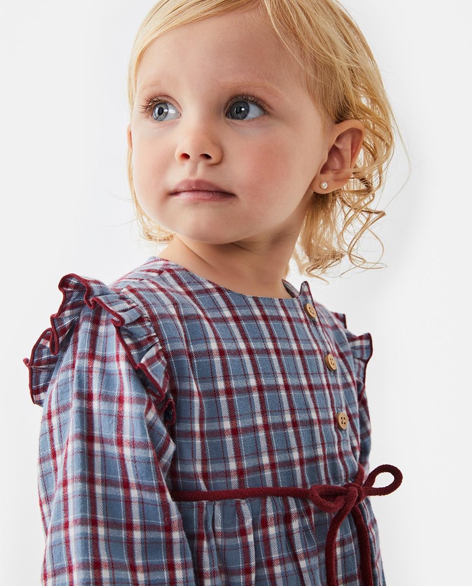 Imagen de Vestido de bebé niña cuadros azul-granate