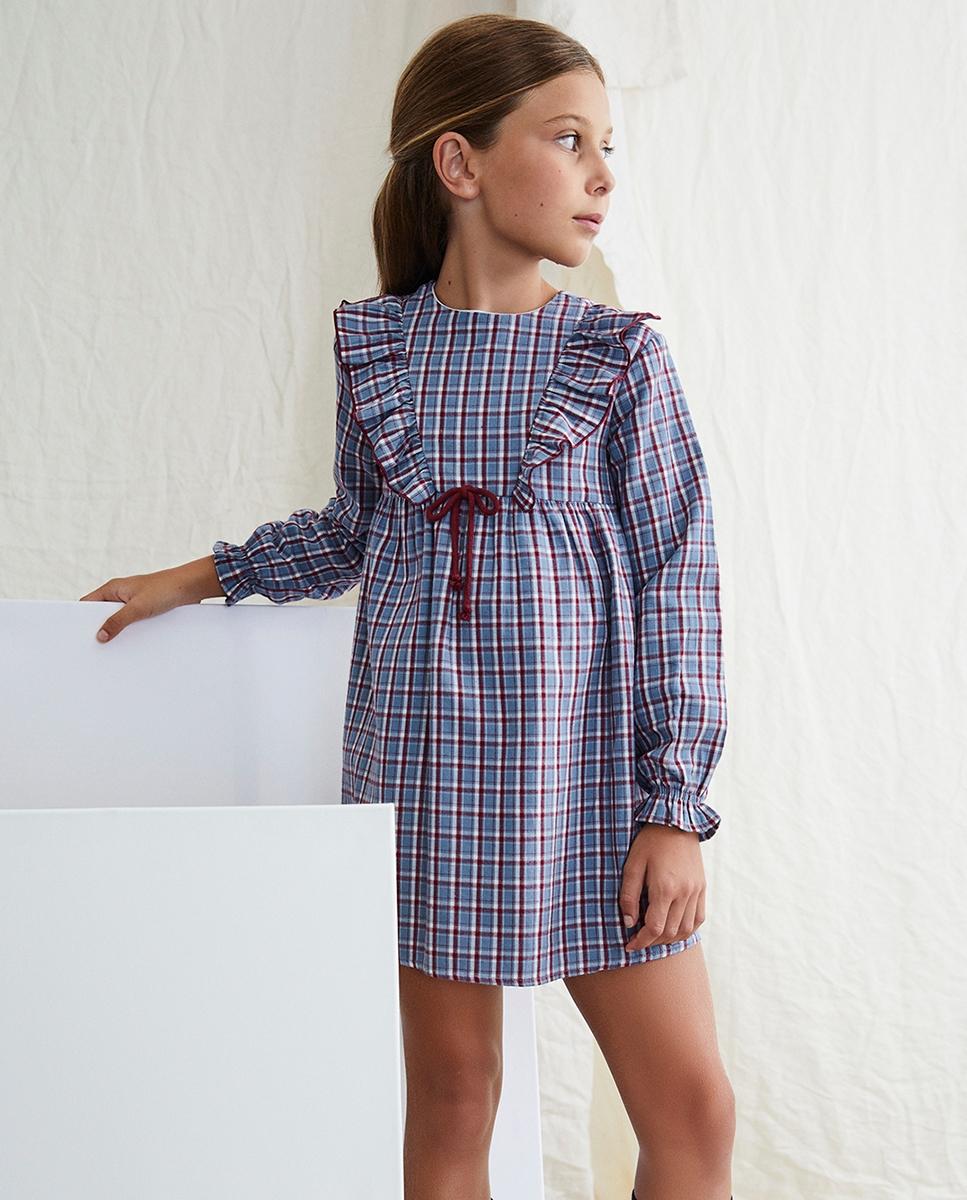 Imagen de Vestido de niña cuadros azul-granate