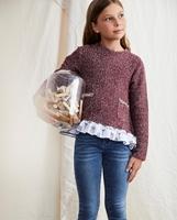 Imagen de Sudadera jersey de niña granate con bolsillos y volantes  y estampado París