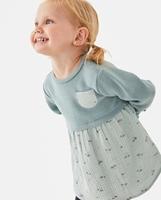 Imagen de Vestido de bebé niña verde combinado punto-bambula