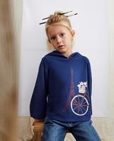 Imagen de Sudadera de niña polar azul marino  con capucha motivo bicicleta