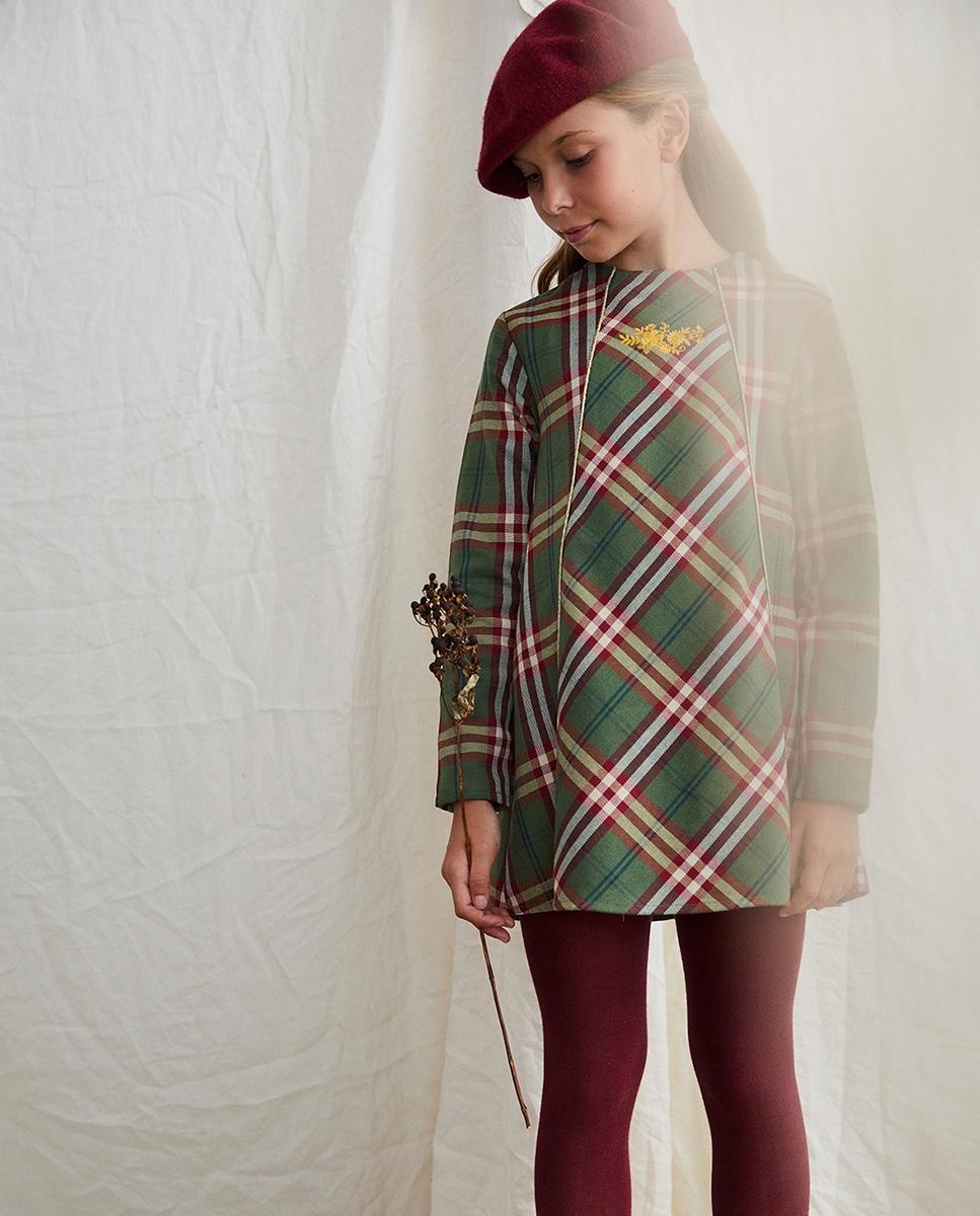 Imagen de Vestido de niña cuadros verde-granate escoceses