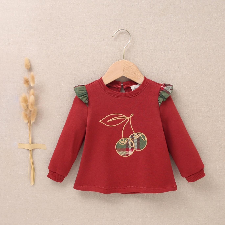 Imagen de Sudadera bebé niña granate con bordado de cerezas
