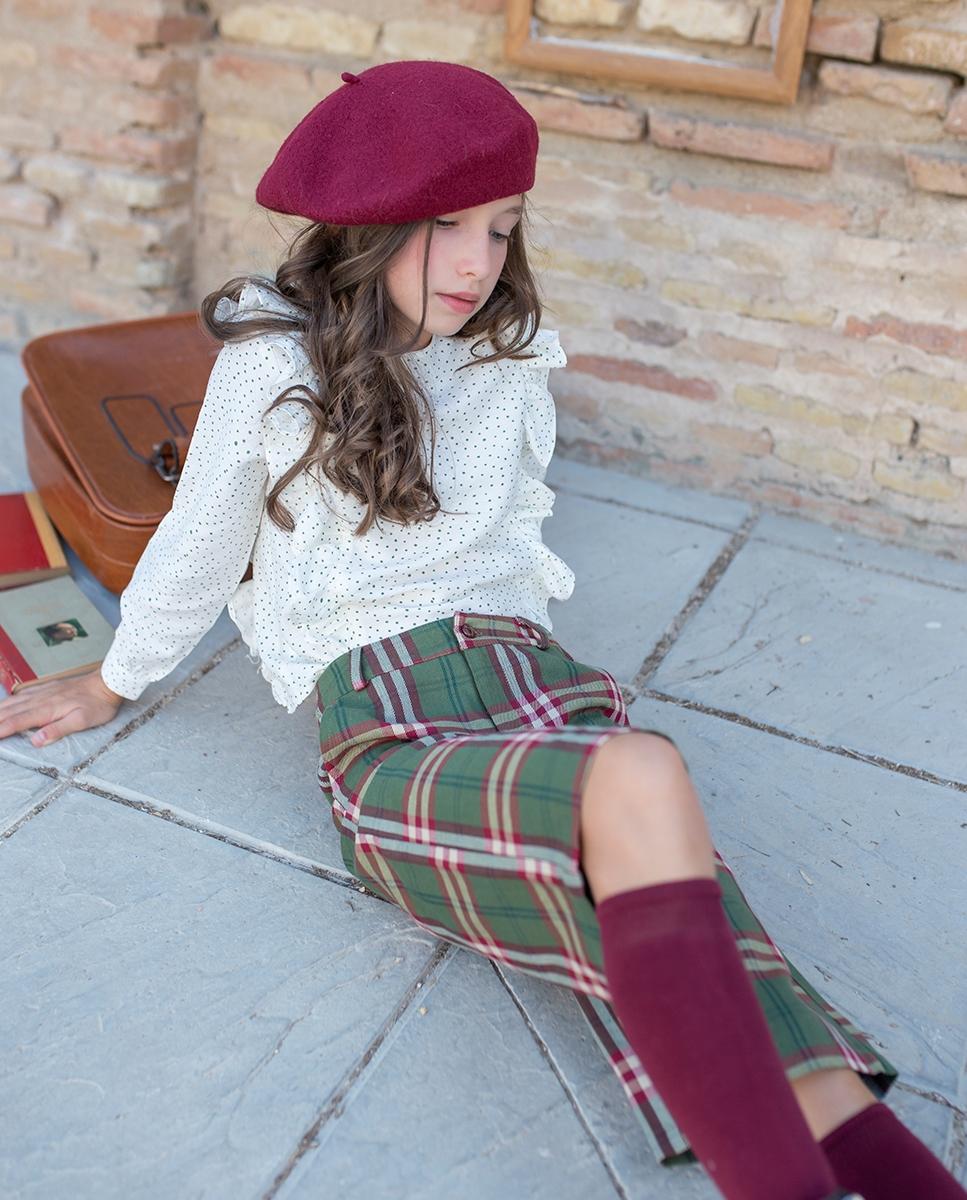 Imagen de Pantalón ancho de niña teen de cuadros verde-granate escoceses