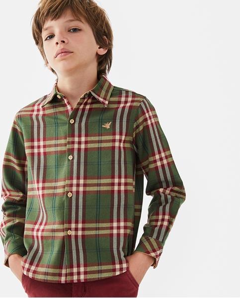 Imagen de Camisa de niño de cuadros verde-granate escoceses